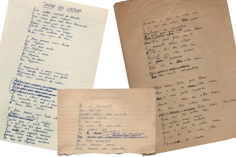 Obras em progresso: as letras rabiscadas de músicas como Tarde em Itapoã, Pela Luz dos Olhos Teus e Insensatez -