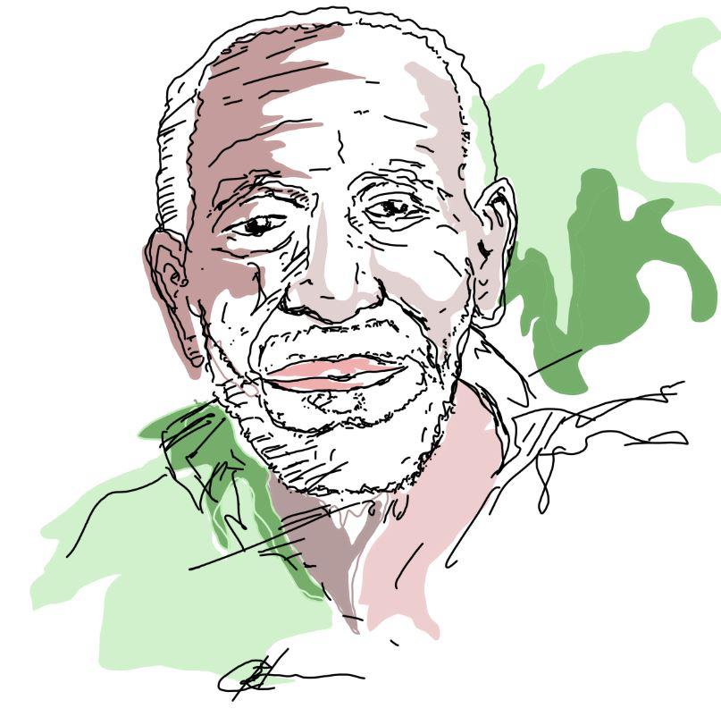 Desenho do sambista Nelson Sargento feito pelo arquiteto Rodrigo Bertamé