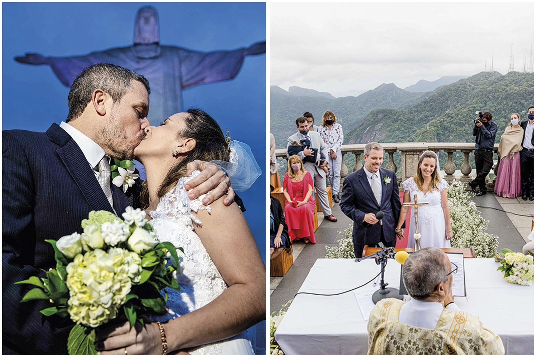 Camila e Fred Weissman: a cerimônia aconteceu sob os braços do Cristo para apenas trinta pessoas -