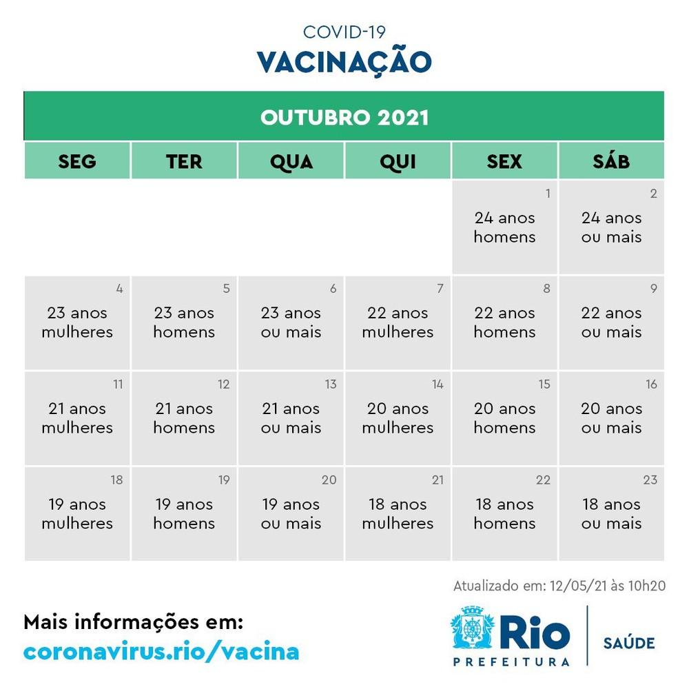 Calendário de imunização em outubro