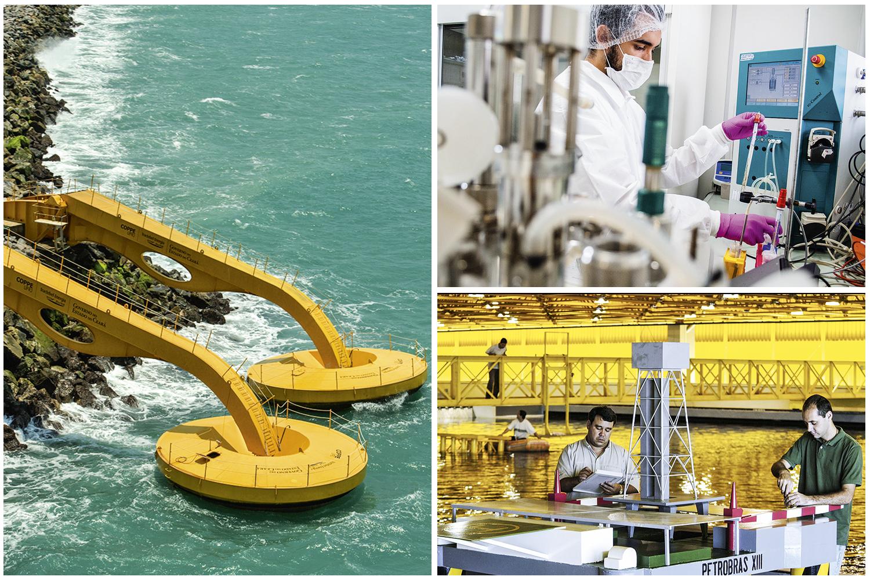 O protótipo cearense da usina de ondas, que vai gerar energia renovável; o laboratório onde foi desenvolvido o teste sorológico para a Covid-19; e o tanque oceânico usado nos estudos para extração de petróleo no fundo do mar (em sentido horário): produção de conhecimento -