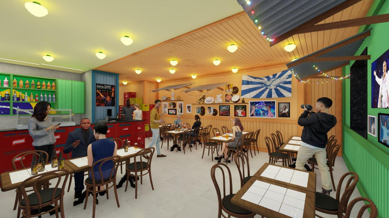 Bar do Zeca Pagodinho: outro ângulo do salão a ser aberto na Zona Sul