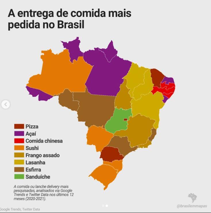 Mapa do Brasil: os mais pedidos por região