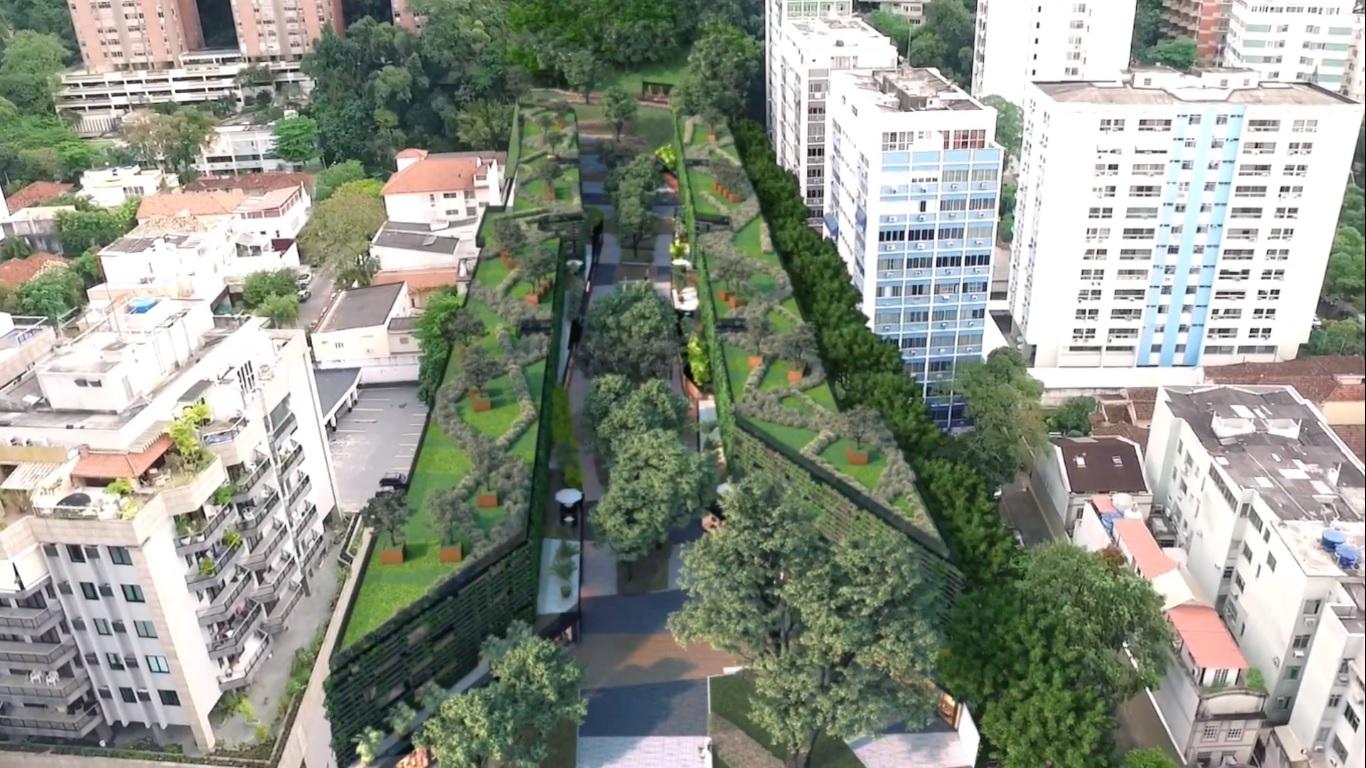Visão superior do parque sustentável da Gávea