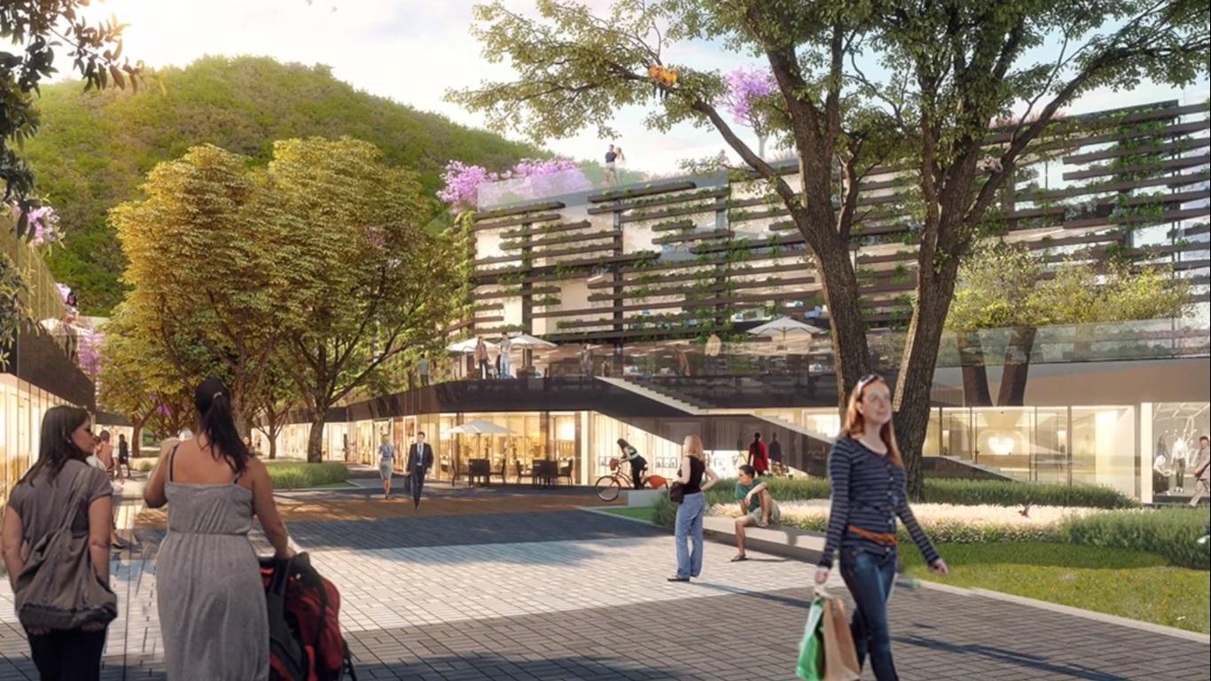 Área comercial do parque sustentável da Gávea