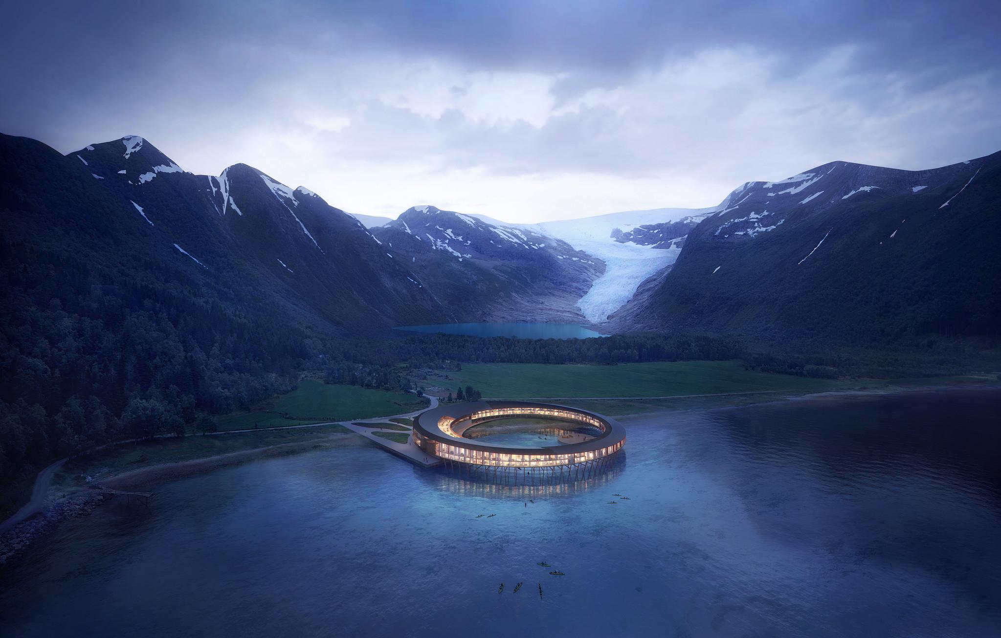 Svart, hotel criado pelo Snøhetta é considerado o hotel mais sustentável do mundo.