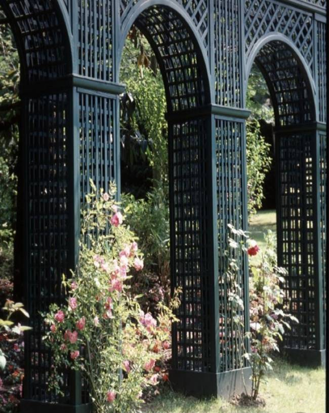 Imagem mostra um jardim com treliça
