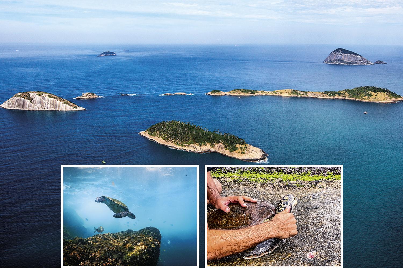 O Arquipélago das Cagarras (acima): mais investimento em saneamento e fiscalização pode ajudar a combater a pesca fantasma (à esq.) -