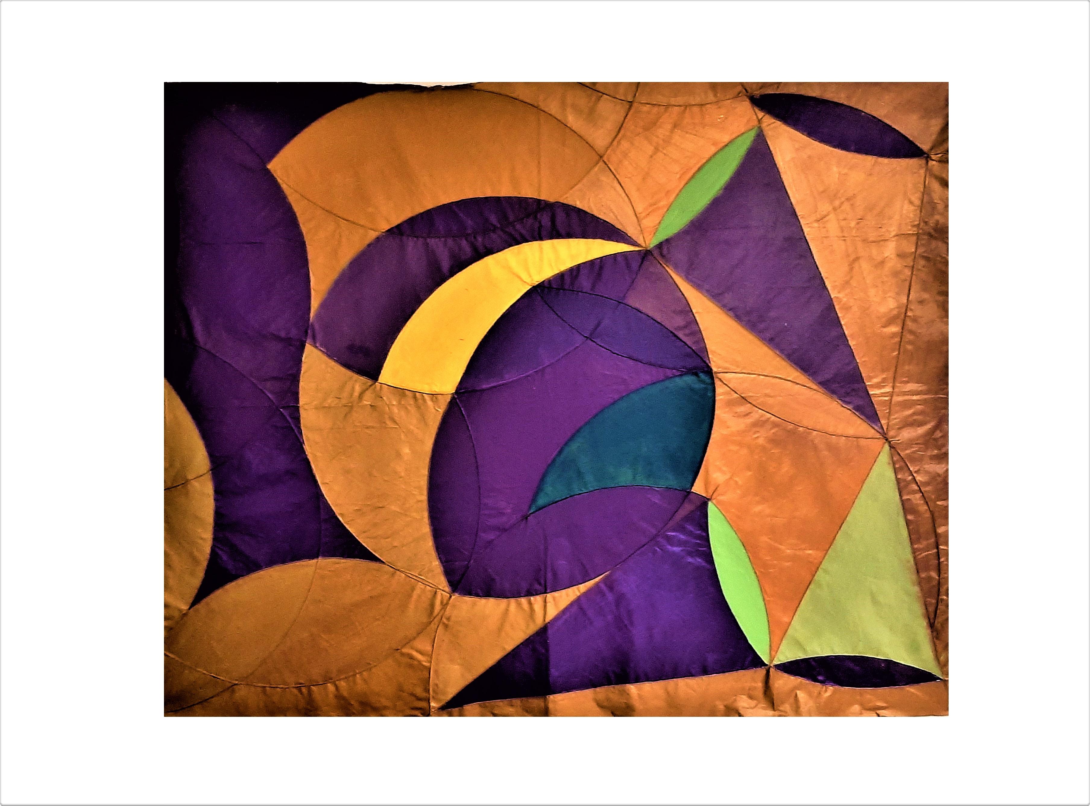 Obra de Mário Camargo em tons de laranja, verde e roxo. Abstrata