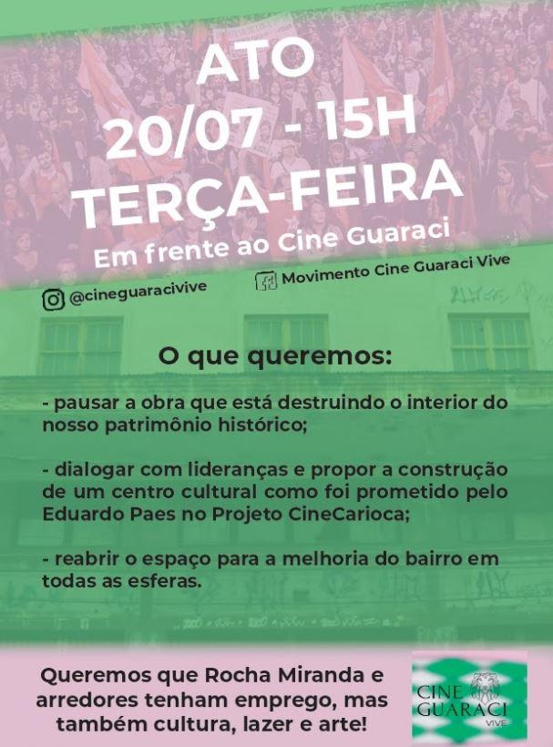 Cartaz de convocação para defesa do Cine Guaraci
