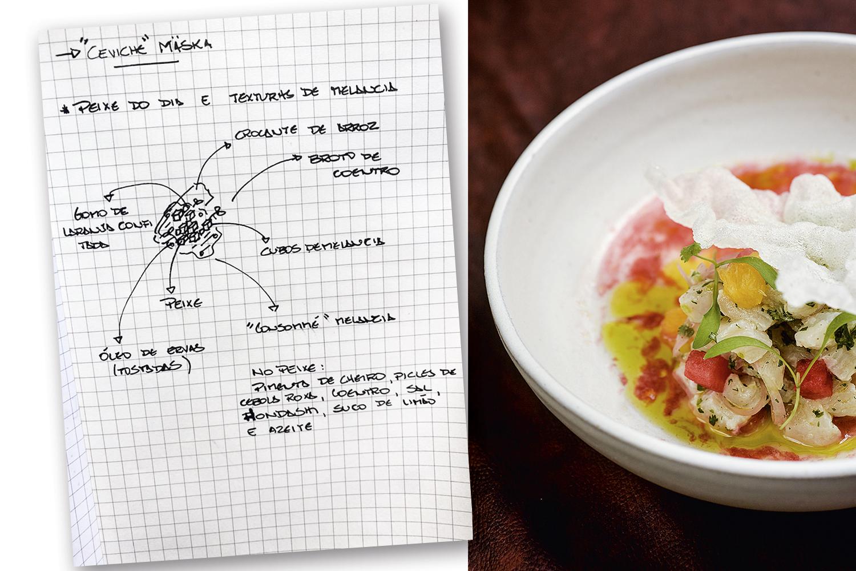 Antes e depois: o processo de criação do ceviche de frutos do mar em cartaz no novíssimo Mäska, comandado pelo chef Pedro Coronha -