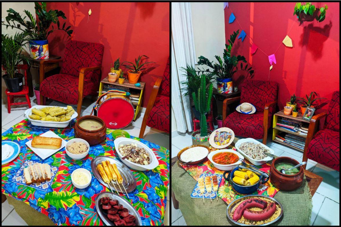 Mesa com comidas típicas de Comidas Santo António e São João
