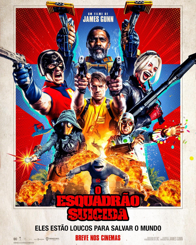 Capa do filme O Esquadrão Suicida 2 mostra os vilões portando armas