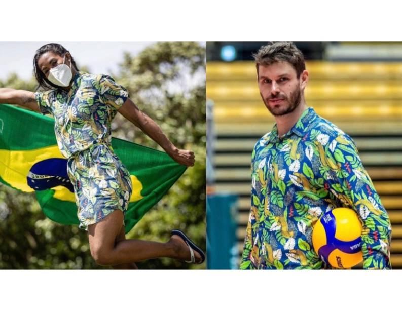 Trajes do Time Brasil no desfile de abertura foram assinados pela marca carioca Wöllner: bermuda de sarja e camisa com estampa tropical para Bruno Rezende e vestido com motivos tropicais para Ketleyn. Nos pés, sandálias havaianas.