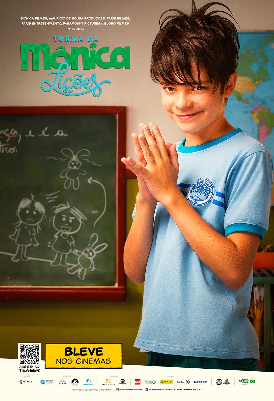 Cartaz do filme Turma da Mônica - Lições traz o personagem Cebolinha na sala de aula