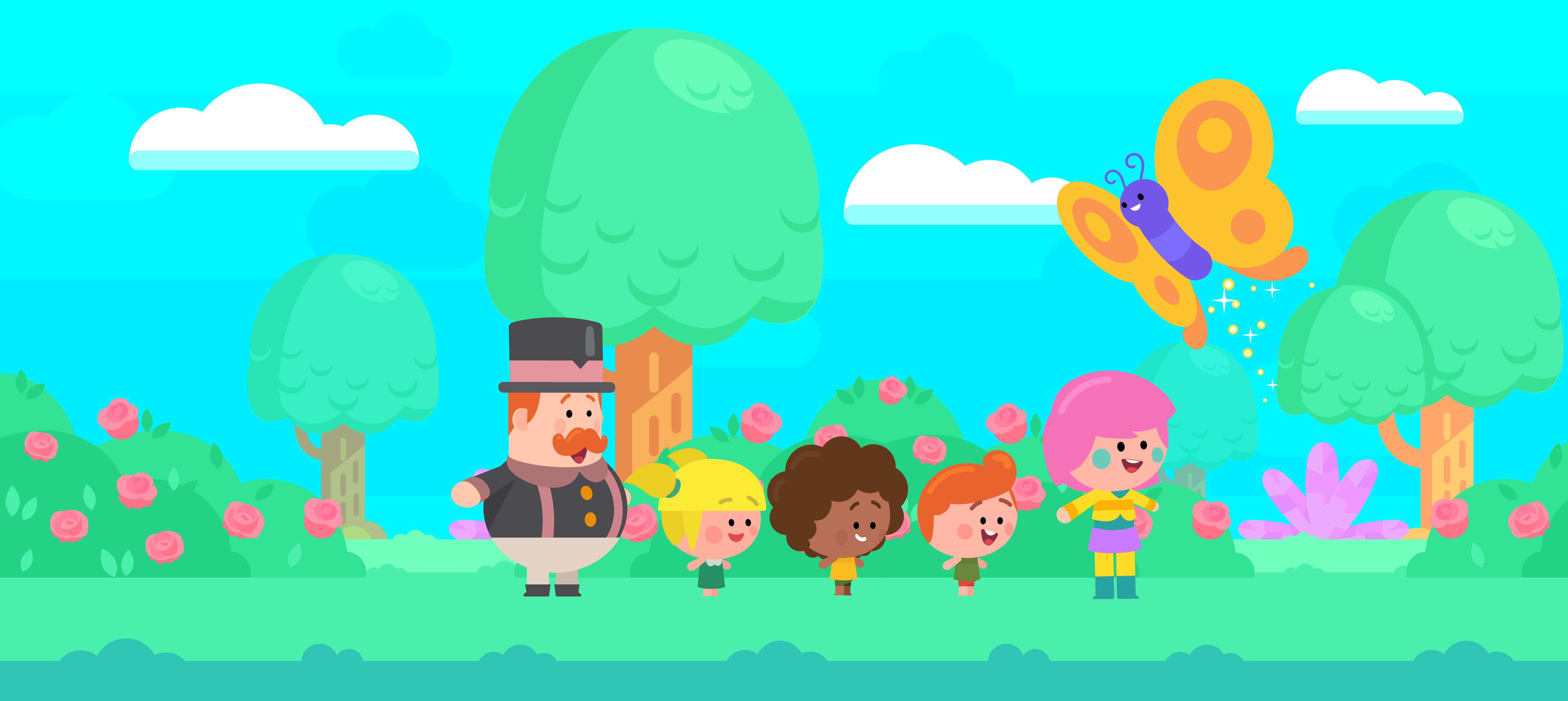 Ilustração mostra os personagens do Mundo Bita num fundo multicolorido