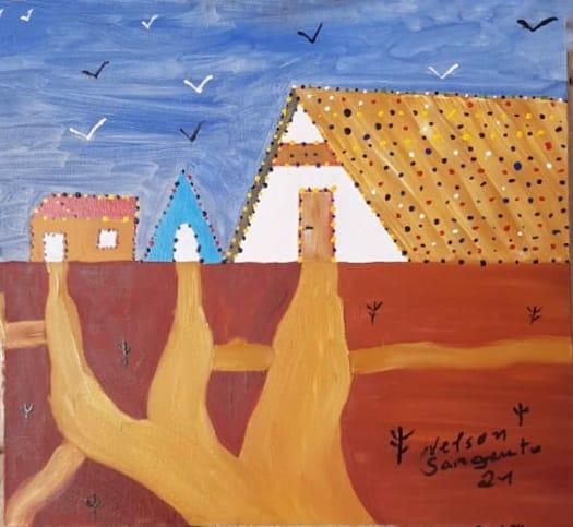 Pintura de Nelson Sargento mostra três casinhas e caminhos