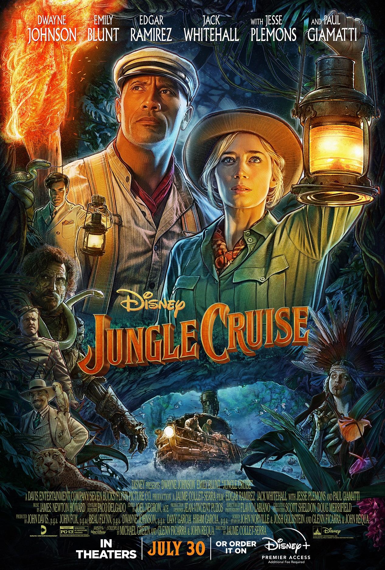Capa do filme Jungle Cruise mostra os atores Dwayne Johnson e Emily Blunt com roupa de exploradores