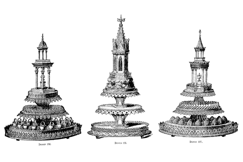 Os desenhos de Carême: o cozinheiro francês deixou um vasto registro de memoráveis invenções, como as suas clássicas sobremesas em formato de torres -