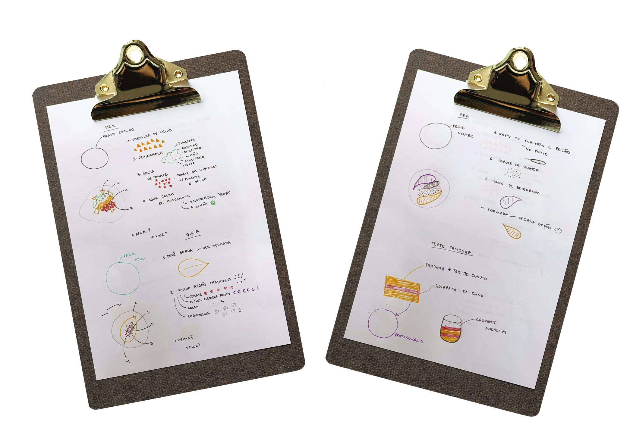 Os rascunhos de Nathalie Passos, do Naturalie Bistrô: a cor da louça e a ordem da montagem também são indicadas nos esboços -