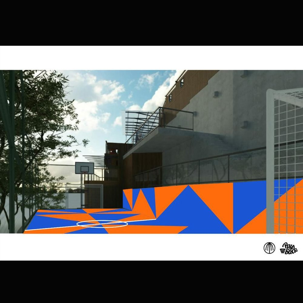 Foto mostra projeto de quadra de basquete nas cores laranja e azul