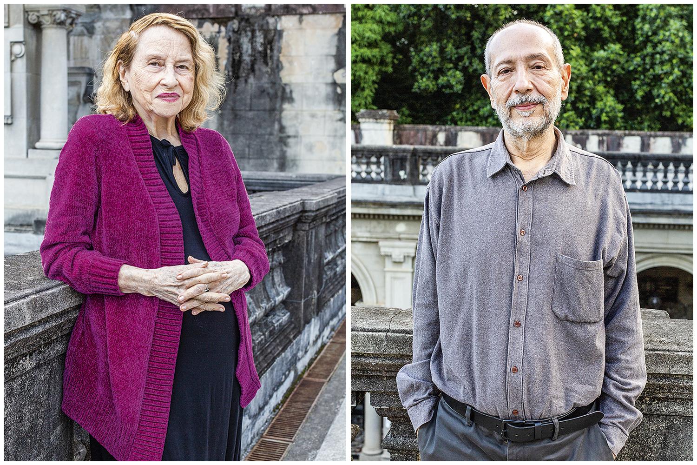Os professores Anna Bella Geiger e Fernando Cocchiarale (à dir.): adaptação às aulas remotas -