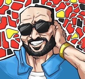 Desenho do personagem Padrinho do Suburbano da Depressão, homem sorrindo de óculos escuro