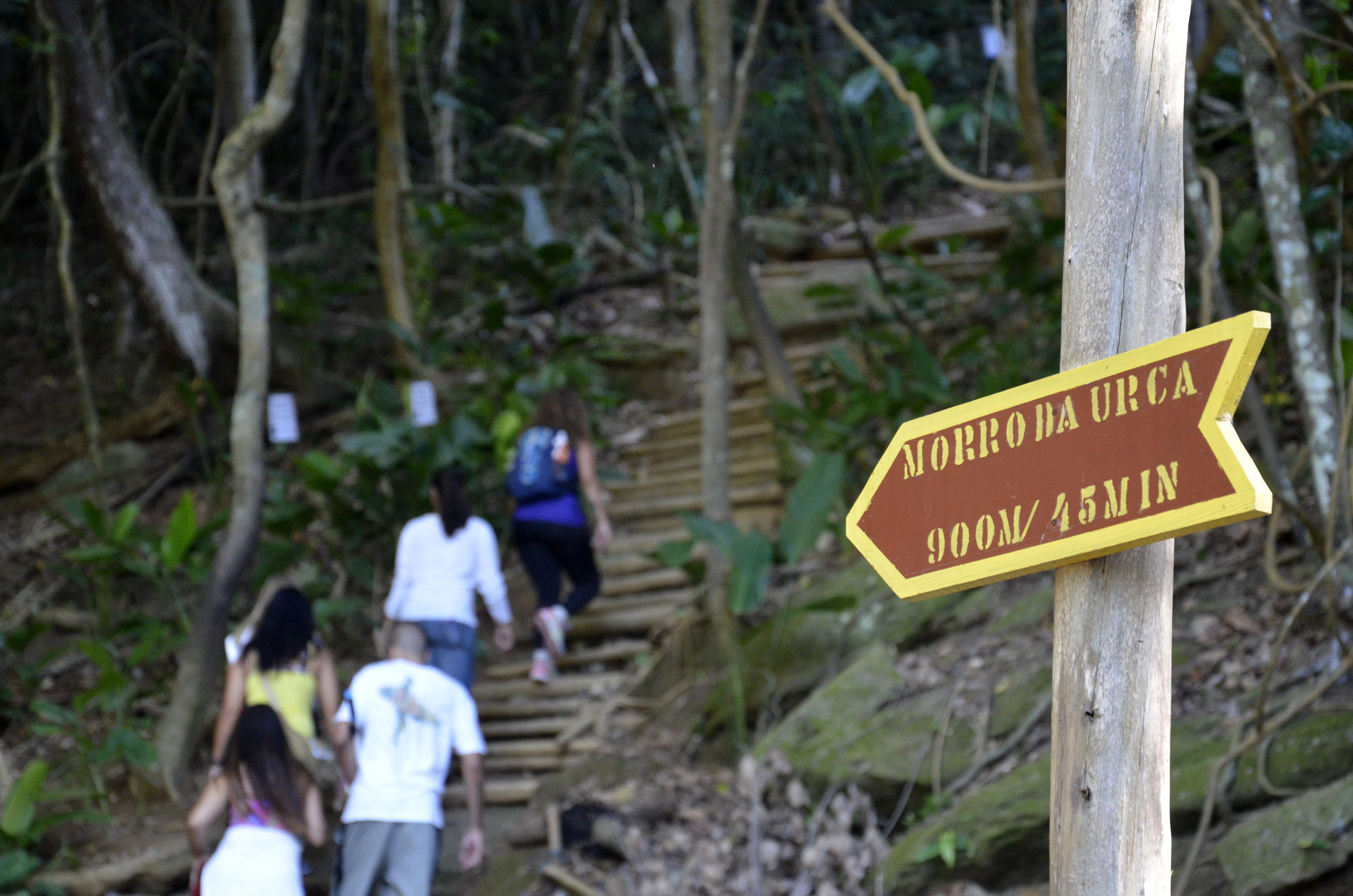 Foto mostra grupo de pessoas subindo uma trilha