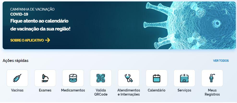Foto mostra aplicativo do Connect SUS