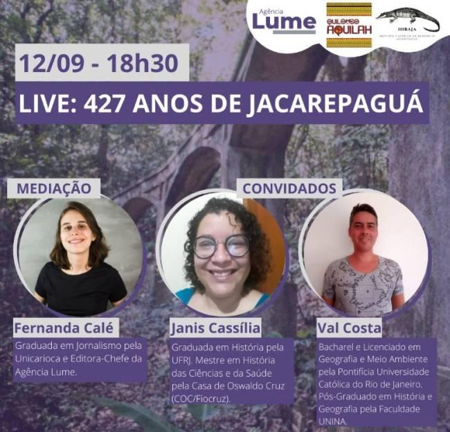 Cartaz de divulgação da live de aniversário de 427 anos de Jacarepaguá.