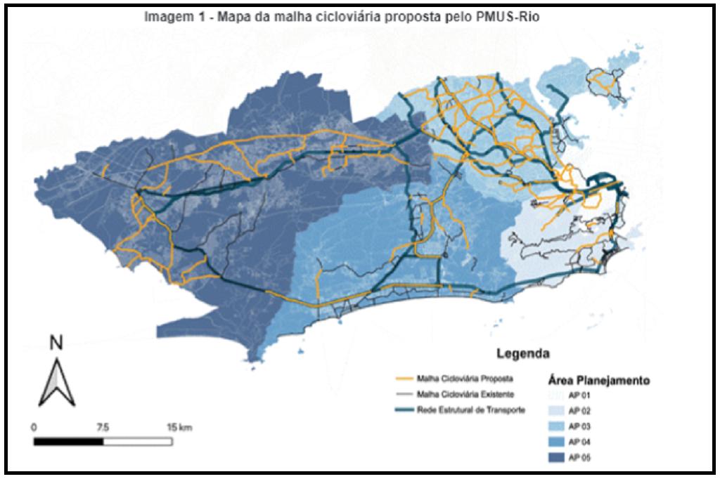 Foto mostra o mapa de ciclovias da cidade