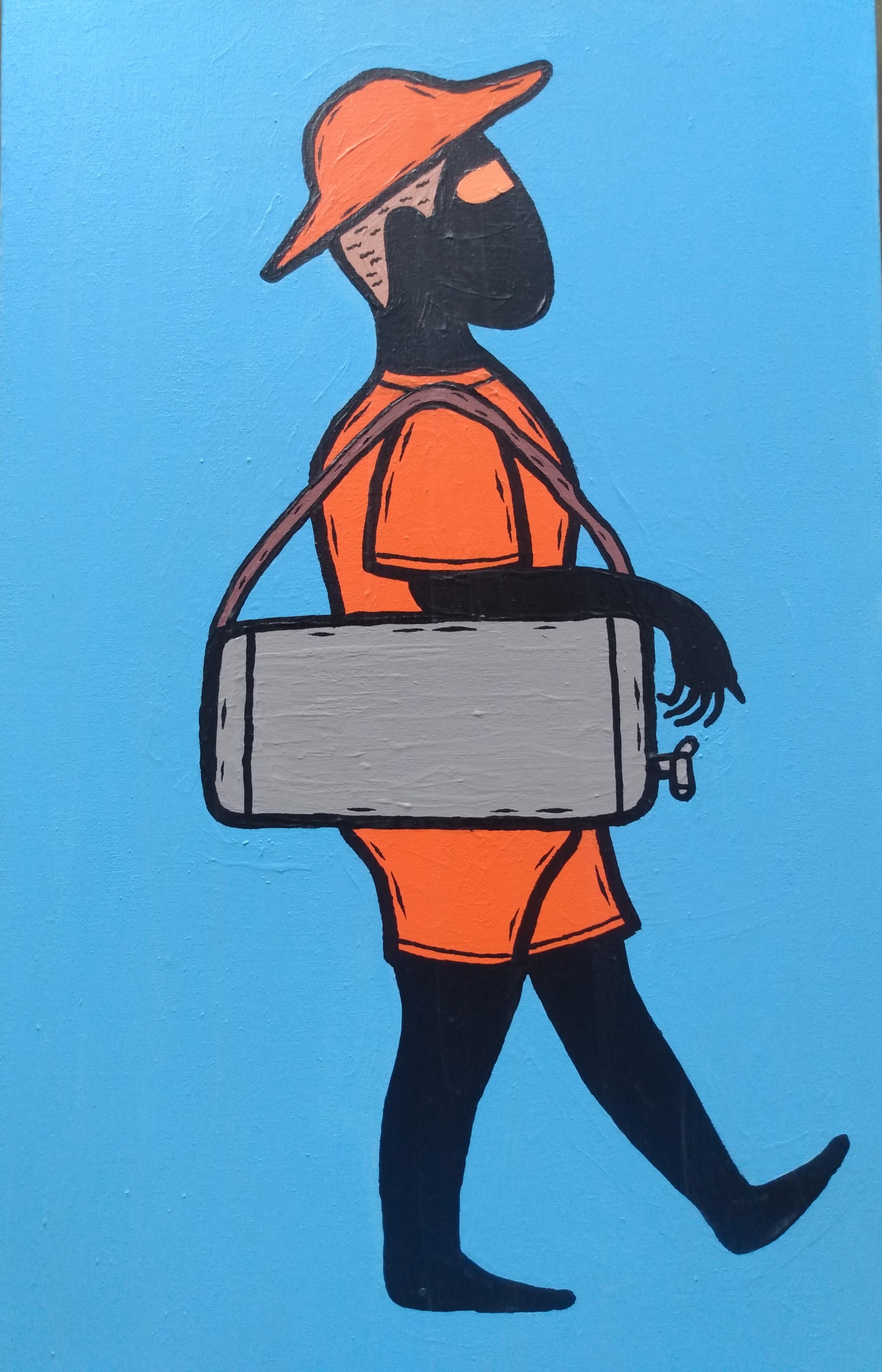 pintura de um vendedor de mate da praia, vestido roupa laranja e segurando um galão