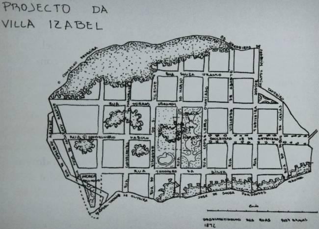 Projeto do mapa de Vila Isabel em 1872