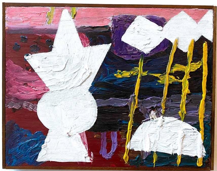 Pintura abstrata nas cores brancas, rosa, amarelo e azul