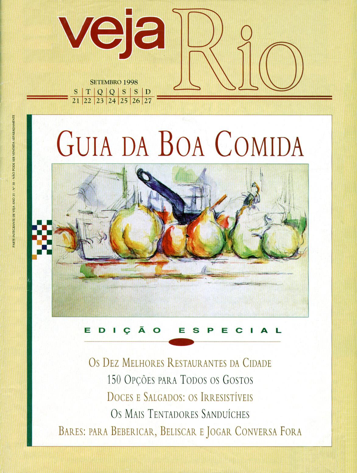 Capa da revista Veja Rio Especial Guia da Boa Comida, de 23 de setembro de 1998