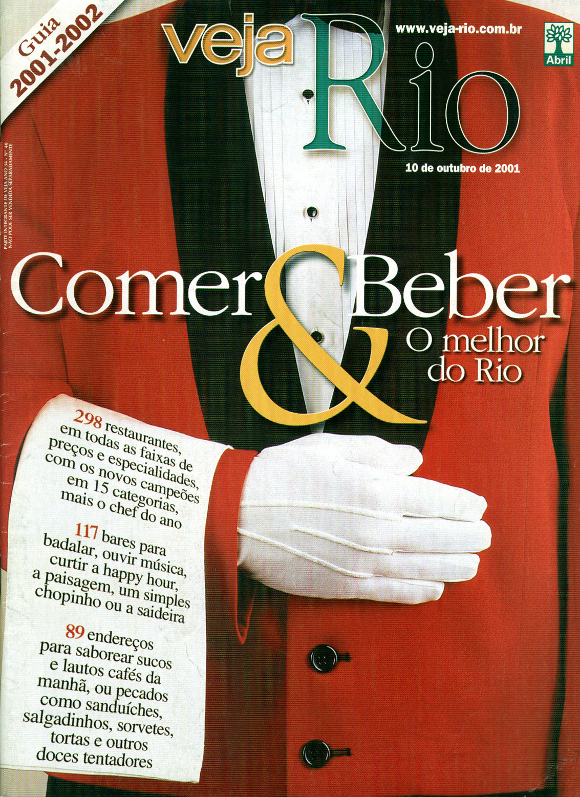 Capa da revista Veja Rio Especial Comer & Beber, de 10 de outubro de 2001