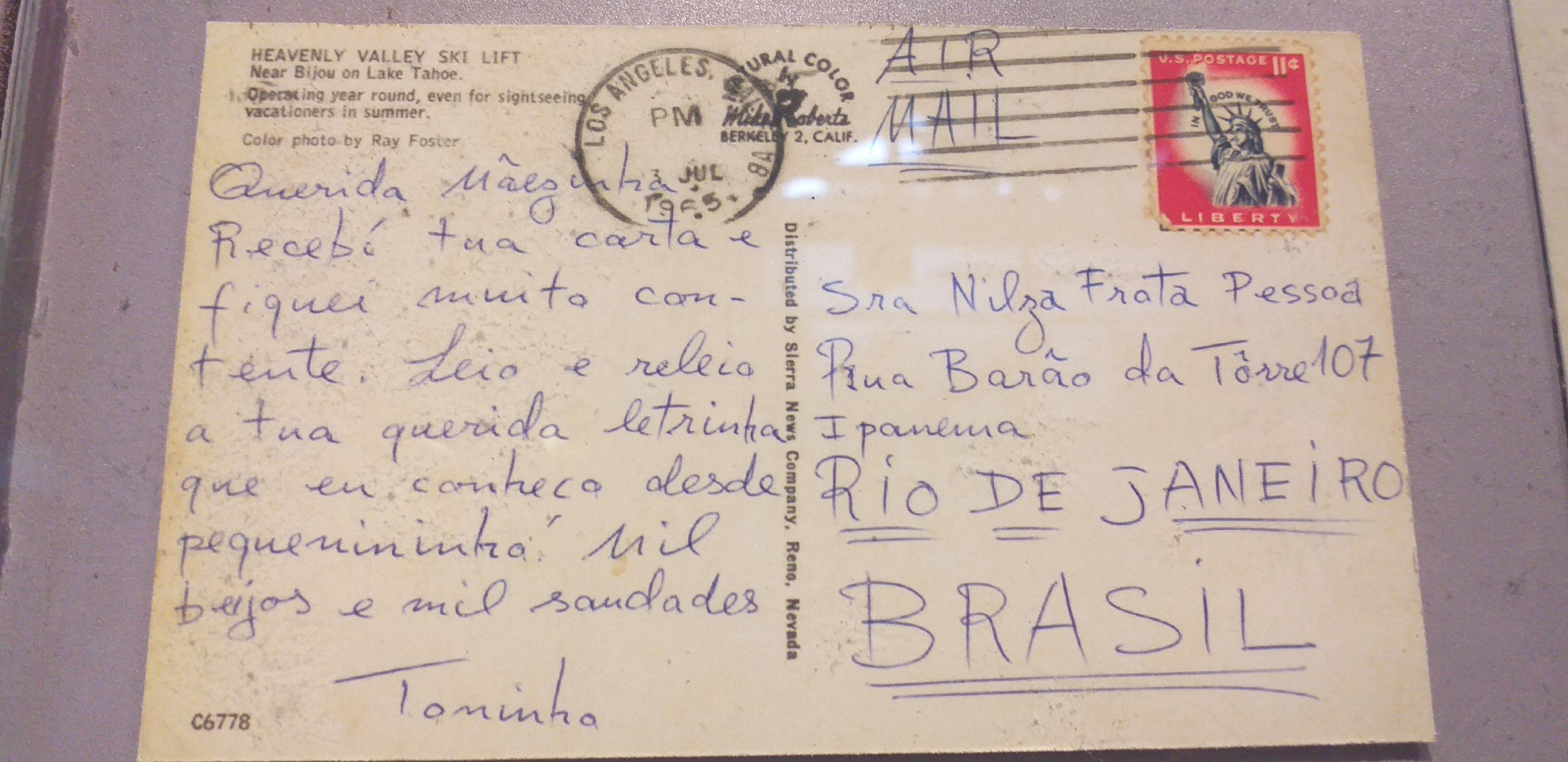 Carta escrita à mãe de Tom Jobim