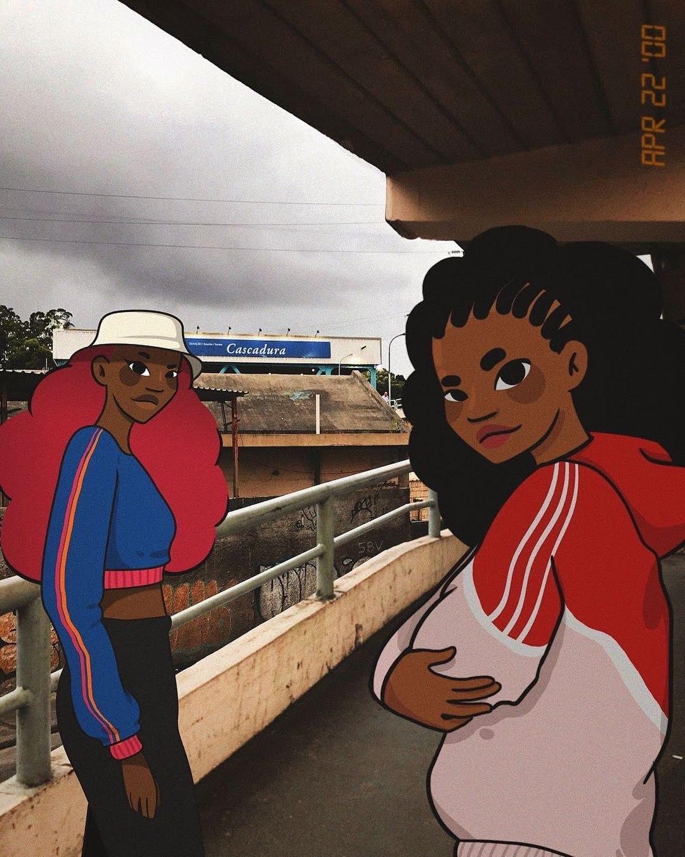 Foto e ilustração de Amora Moreira de duas meninas na estação de Cascadura